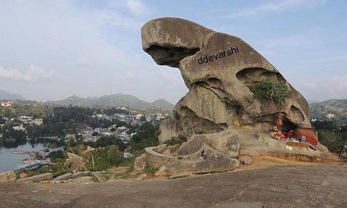 Toad Rock at Mount Abu with view of Nakki Lake