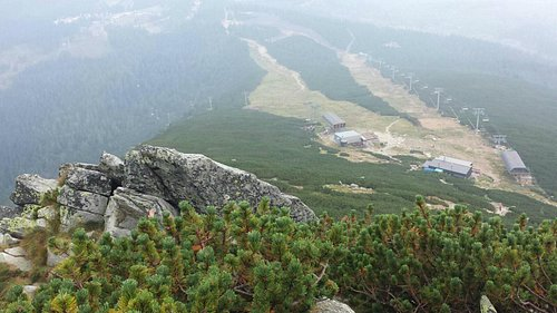 At (Predné solisko) and down in the fog you can see (Strbské pleso)