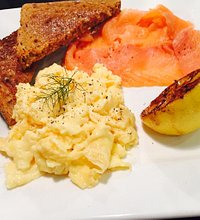 Delicious smoked salmon with thick toast and yummy scrambled egg!