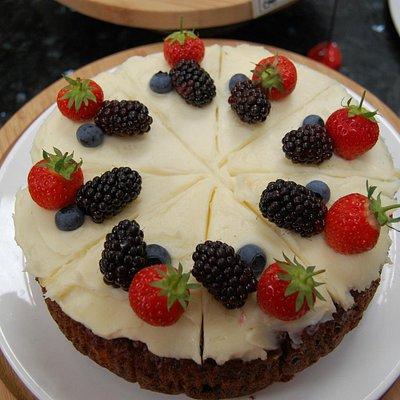 Homemade cake at Cammas Hall Tea Barn