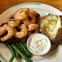 Steak and seafood with half pound of shrimp!!