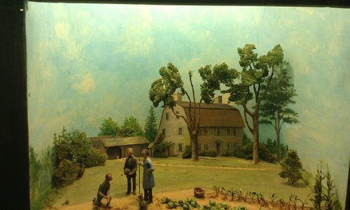 Diorama by Louise Stimson of the Old Manse in 1842.  Emerson, Thoreau, and Hawthorne are depicte