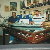 Tony Fidd, Jr and Sam Fruner with Battleship Missouri