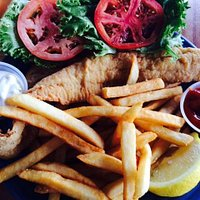 Flounder po'boy sandwich with fries