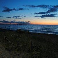 Southampton boardwalk evening view of Lake Huron