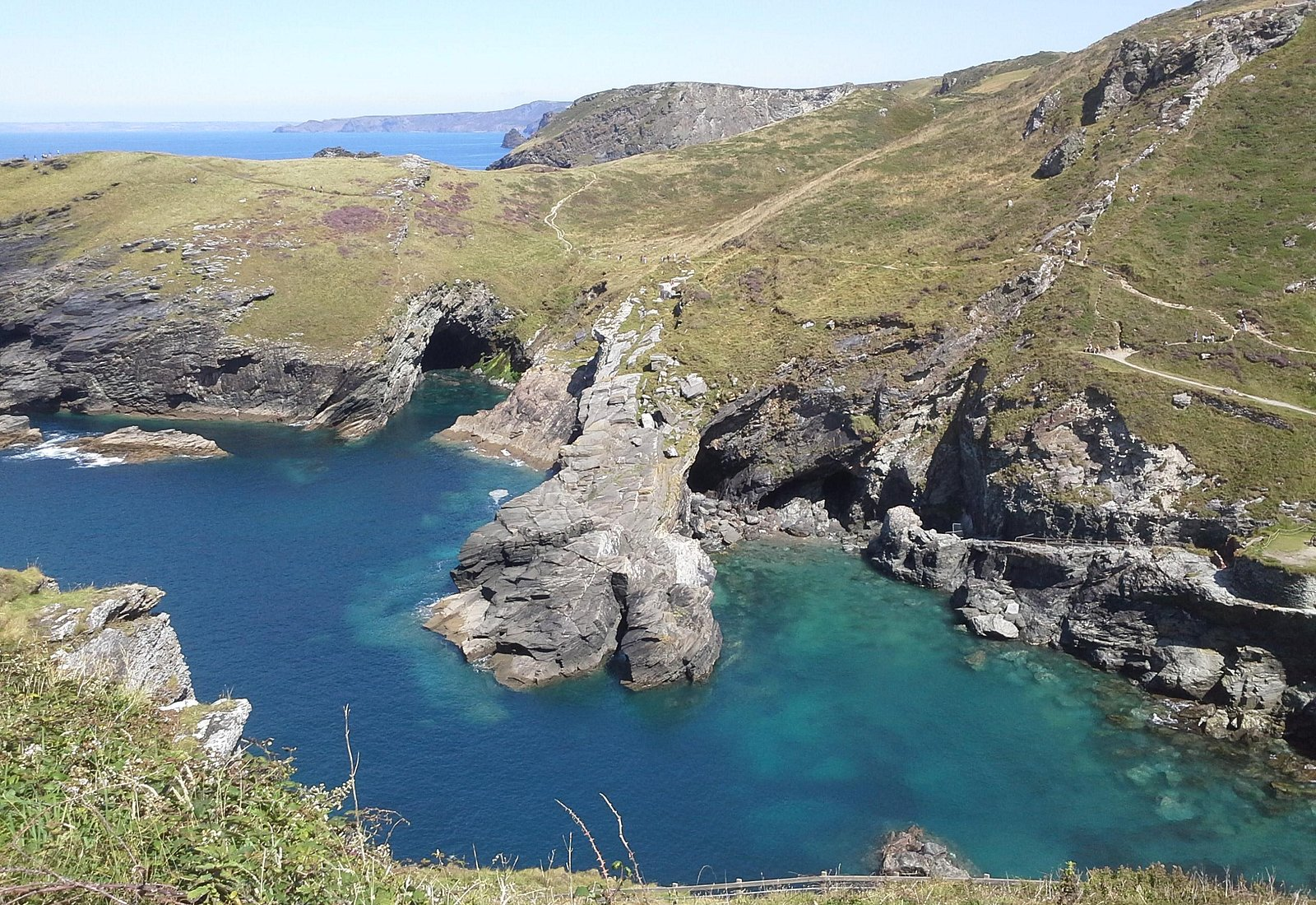 View of the bay and caves from Tintagel castle