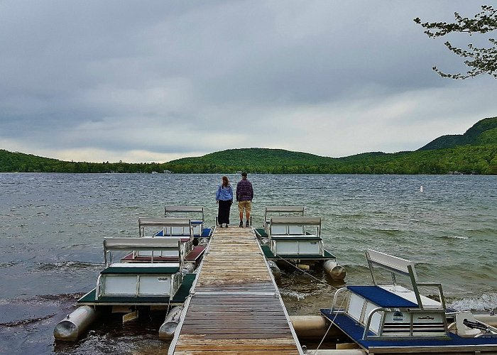 Lake Dunmore and the paddle boats for rent.