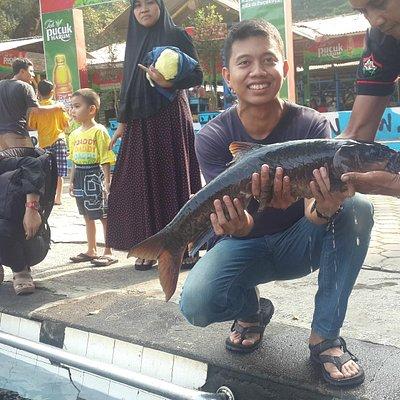 Berfoto bersama ikan dewa