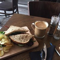 Tuna salad sandwich and a flat white