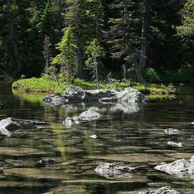Tranquil scene on eastern edge of Lake Haiyaha