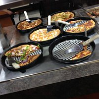 Pizza buffet table.