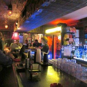 Bar area. Friendly bartender.