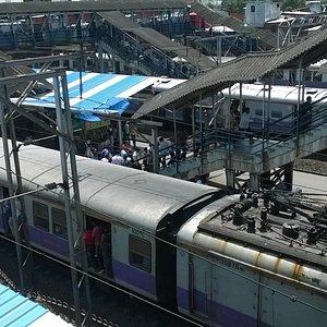 A sub-urban train pulling in