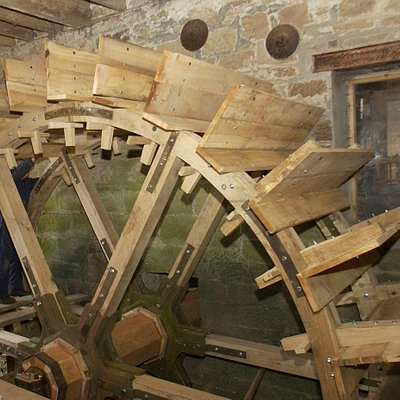The giant waterwheel, made from locally grown timber