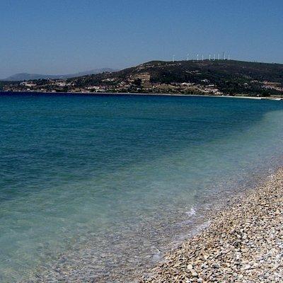 Mykali Beach, - view to west
