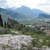 Looking down into the Arco valley from our snack spot after completing the via feratta