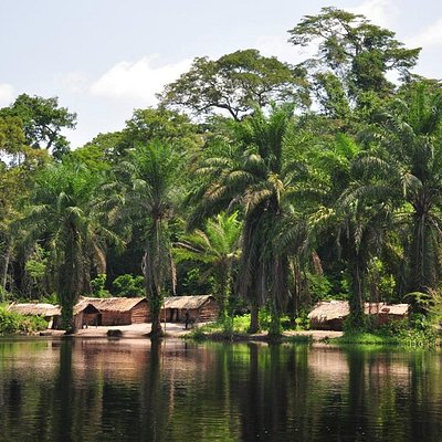 Typical village scene along the Congo River