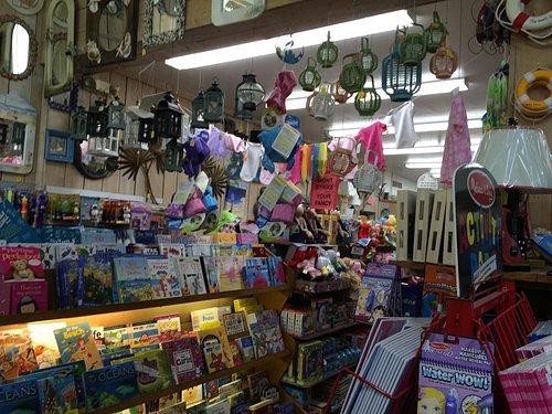 Kids books, clothes, mirrors, lanterns at Sea Shell Shop