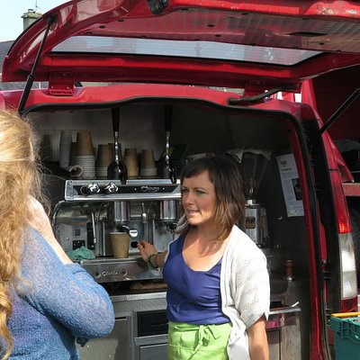 Fabulous coffee out of the back of a truck!