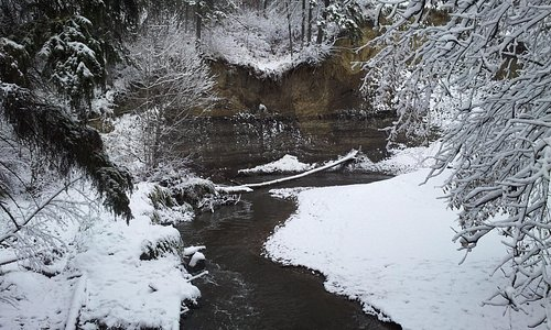 Wear spikes over your boots to hike the ravine in winter.