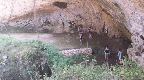 view looking into the cave