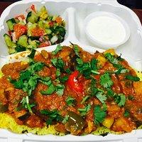 Vegetable Masala Plate -- comes with Lemon Rice, Chickpea Salad and Spiced Raita ( yogurt )
