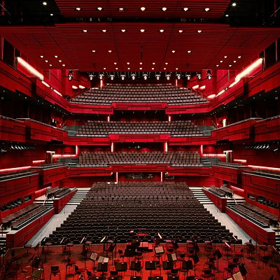 Everything set for an orchestra concert in Harpa's main hall, Eldborg