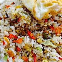 The hot and spicy fried rice with salted fish. A must try.