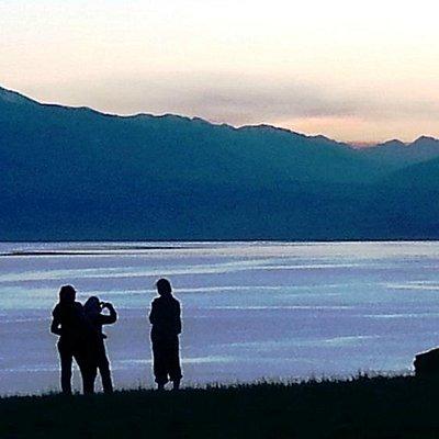Sunset on the Toktogul lake