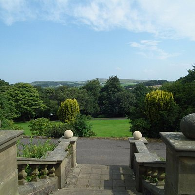 View from the front steps of Haworth Hall