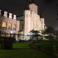 View of St. Louis Cathedral at Night near Cafe Pontalba in Lower Pontalba Bldg.