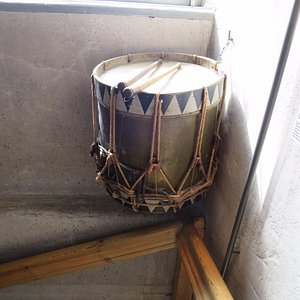 This drum was used to mark time in the old town.