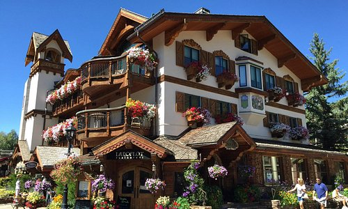 A hotel, restaurant and shop in a Bavarian style