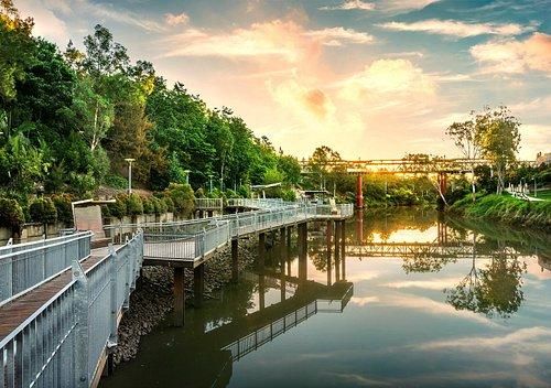 Boardwalks along the Bremer River in the River Heart Parklands.