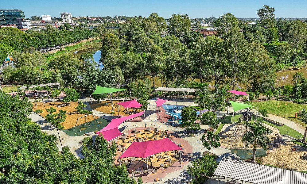 Aerial view over the play and picnic area at the River Heart Parklands.