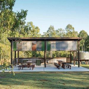 Camp kitchen at Hardings Paddock Campground in Flinders-Goolman Conservation Estate.