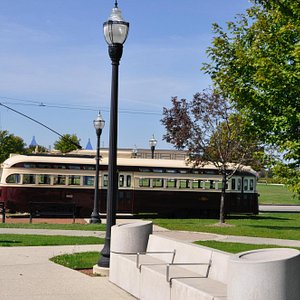 The tracks run along the lakefront park