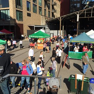 Looking towards the Mill City Museum train shed; Mill City Farmer's Market