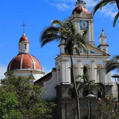 The exterior of the Matriz Catholic Church in Cotacachi, Ecuador