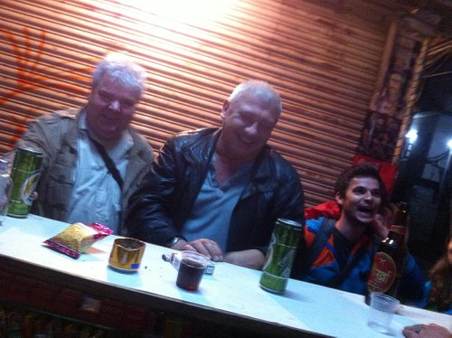 Here we drink in street and have fun we meet many people passing through and just make new frien