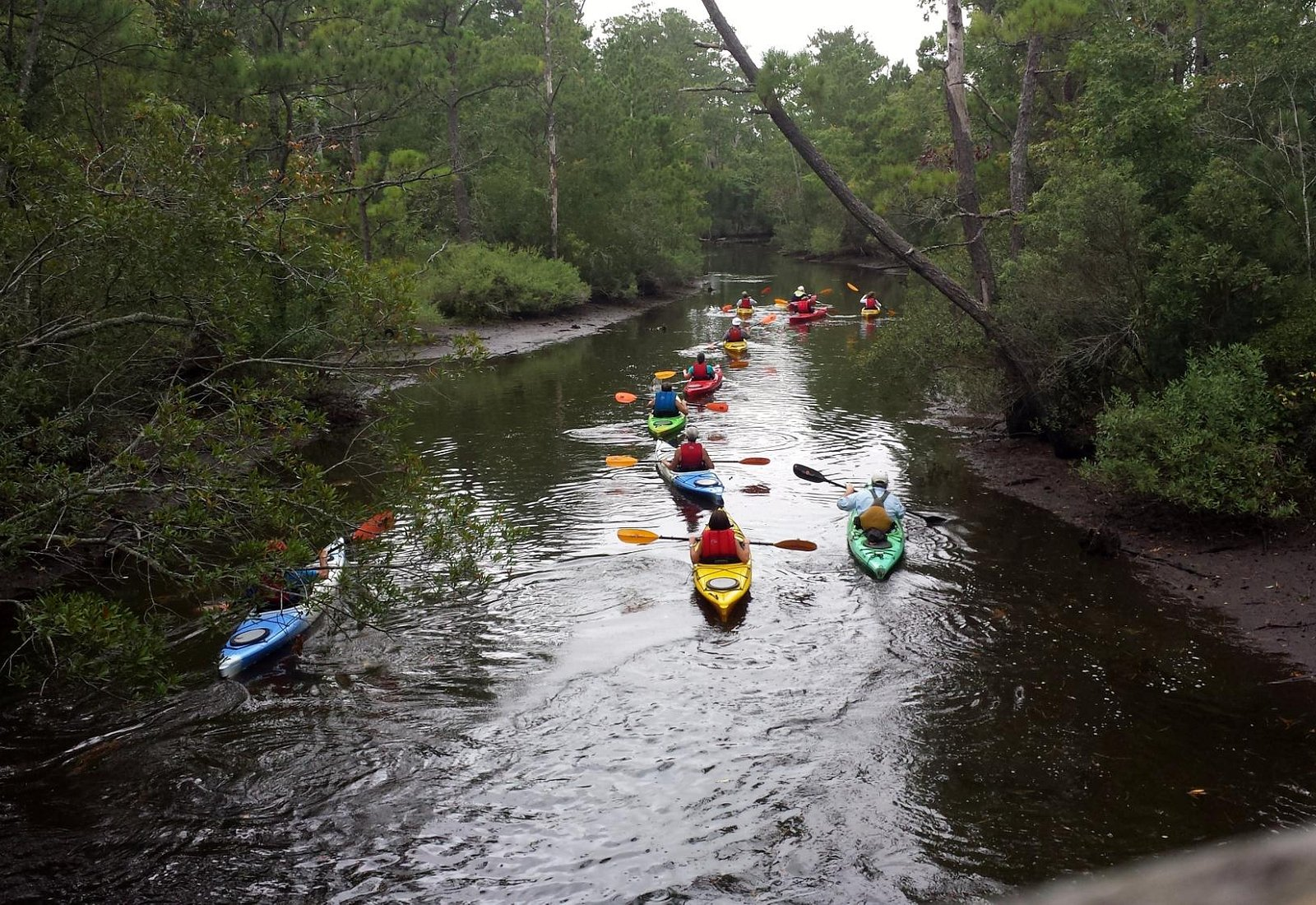 Kayaking group as seen from the covered bridge