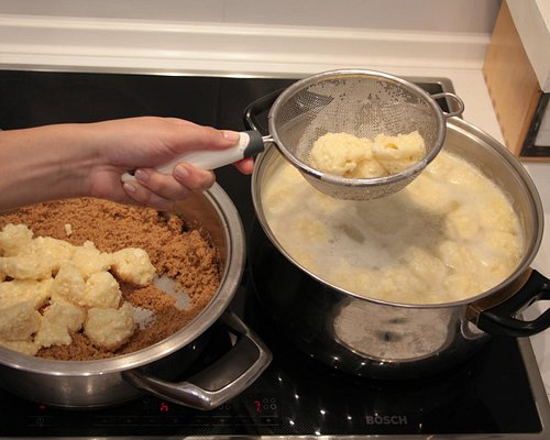 Making of cottage cheese dumplings