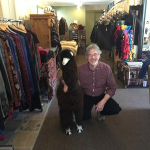 Roy amongst his lovely alpaca garments.