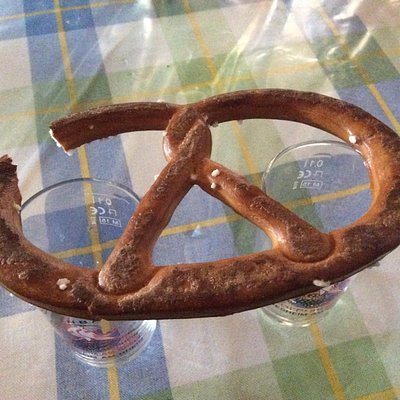 An enormous pretzel to clean the palette between wines