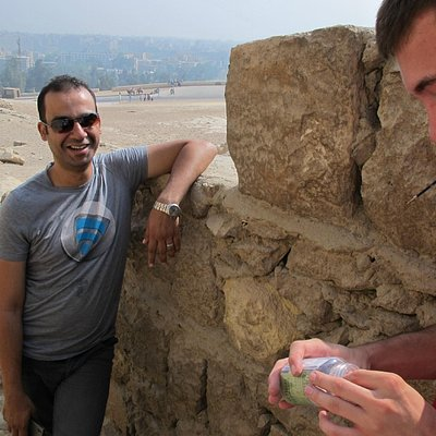 Our guide learned about Geocaching at Giza