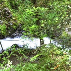 The flowing river fed by the waterfall