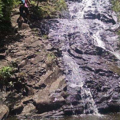 climbing up waterfalls