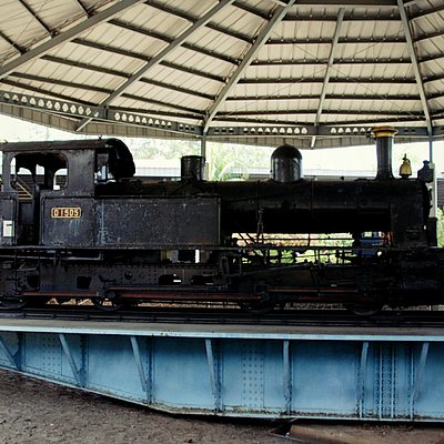 Old-fashioned steamed locomotive