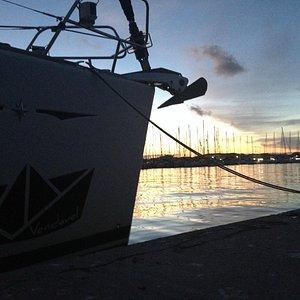 Sunset at the base of Sailing Ionian Sea (Marina of Lefkas)