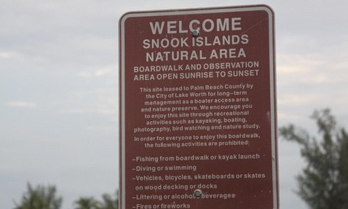 Snook Islands Natural Area Entry Sign- Lake Worth, FL